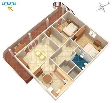 Umag, Půdorys v ubytování typu apartment.