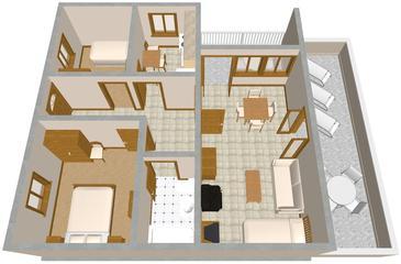 Povlja, Plan kwatery w zakwaterowaniu typu apartment, dopusteni kucni ljubimci i WIFI.