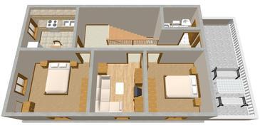 Sutivan, Plan kwatery w zakwaterowaniu typu apartment, dopusteni kucni ljubimci i WIFI.