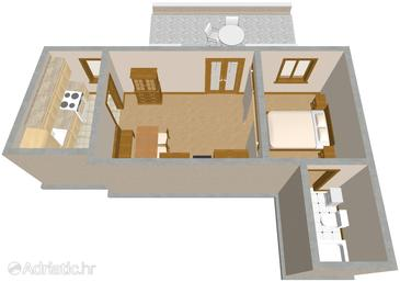 Sutivan, Plan in the studio-apartment, dopusteni kucni ljubimci i WIFI.