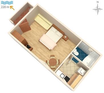 Fažana, Pôdorys v ubytovacej jednotke studio-apartment, dopusteni kucni ljubimci i WIFI.
