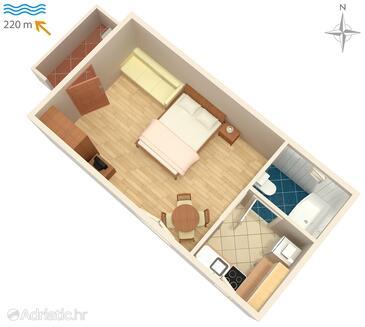 Fažana, Plan dans l'hébergement en type studio-apartment, animaux acceptés et WiFi.