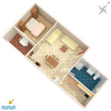 Medulin, Půdorys v ubytování typu apartment, WIFI.