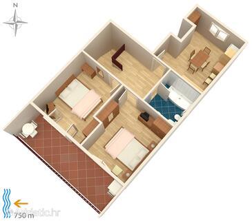 Fažana, Pôdorys v ubytovacej jednotke apartment, domáci miláčikovia povolení a WiFi.