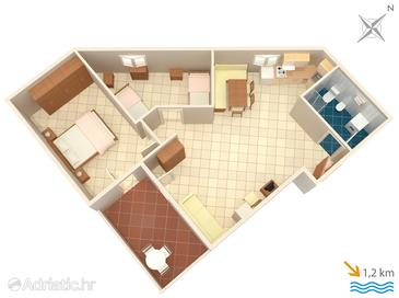 Ližnjan, Plan in the apartment, (pet friendly) and WiFi.