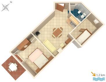 Ližnjan, Půdorys v ubytování typu apartment, domácí mazlíčci povoleni a WiFi.