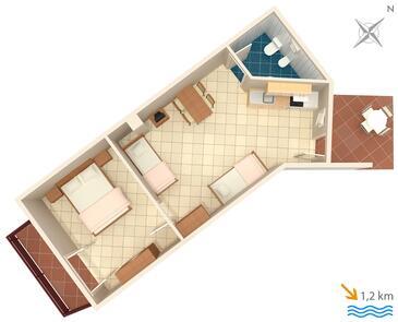 Ližnjan, Plan kwatery w zakwaterowaniu typu apartment, dopusteni kucni ljubimci i WIFI.