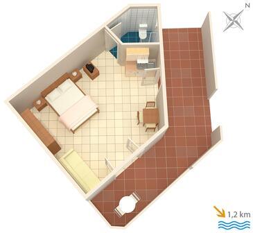 Ližnjan, Plan kwatery w zakwaterowaniu typu studio-apartment, zwierzęta domowe są dozwolone i WiFi.