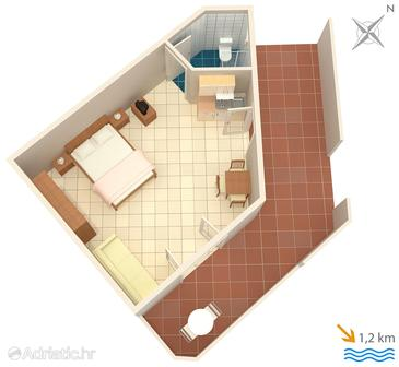 Ližnjan, plattegrond in the studio-apartment, (pet friendly) en WiFi.
