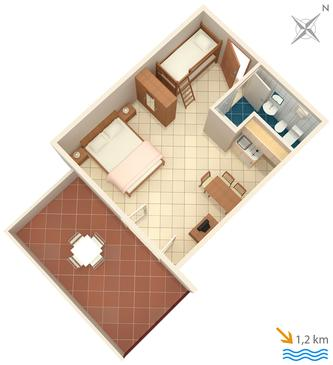 Ližnjan, Plan kwatery w zakwaterowaniu typu studio-apartment, dopusteni kucni ljubimci i WIFI.