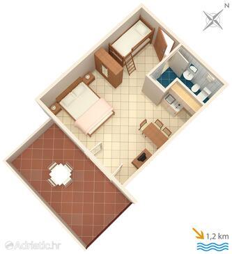 Ližnjan, Půdorys v ubytování typu studio-apartment, domácí mazlíčci povoleni a WiFi.