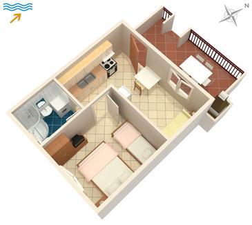 Mirca, Plan kwatery w zakwaterowaniu typu apartment, dopusteni kucni ljubimci.