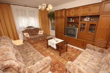 Bašanija, Living room in the apartment, dostupna klima i WIFI.