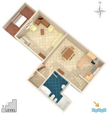 Krnica, Půdorys v ubytování typu apartment, dopusteni kucni ljubimci i WIFI.