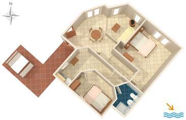 Krnica, Půdorys v ubytování typu apartment, domácí mazlíčci povoleni a WiFi.