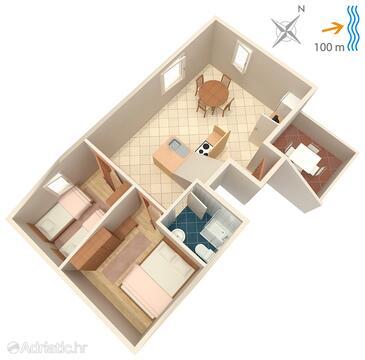 Postira, План в размещении типа apartment, WiFi.
