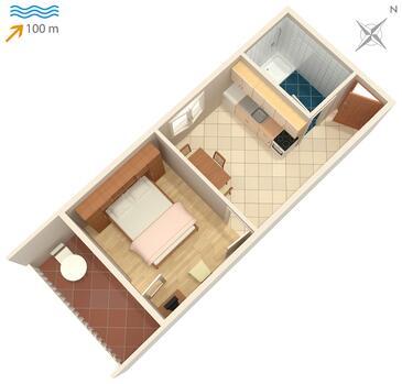 Postira, Plan kwatery w zakwaterowaniu typu apartment.