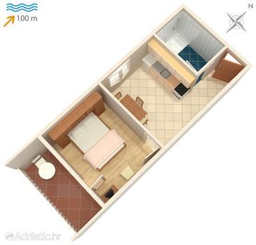 Postira, Plan in the apartment.