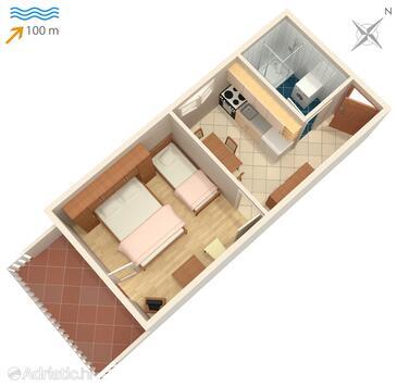 Postira, Alaprajz szállásegység típusa apartment.