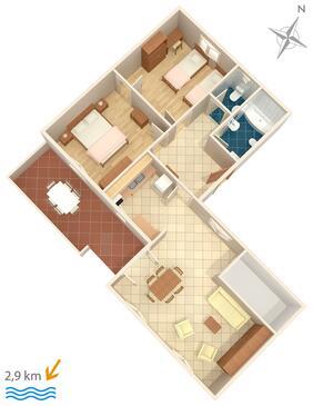 Pula, Půdorys v ubytování typu apartment, WIFI.