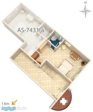 Pula, Plan in the studio-apartment, dopusteni kucni ljubimci.