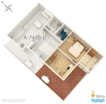 Rabac, Plan in the apartment.