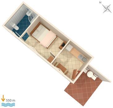 Rabac, Plan kwatery w zakwaterowaniu typu apartment.