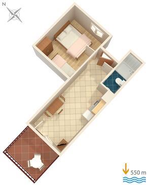Rabac, Půdorys v ubytování typu apartment.