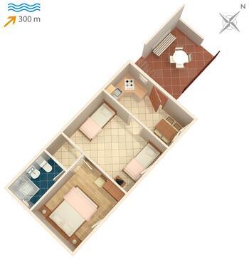 Sutivan, Půdorys v ubytování typu apartment, WIFI.