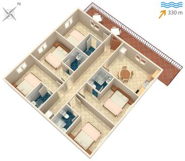 Sutivan, Plan kwatery w zakwaterowaniu typu apartment, WIFI.