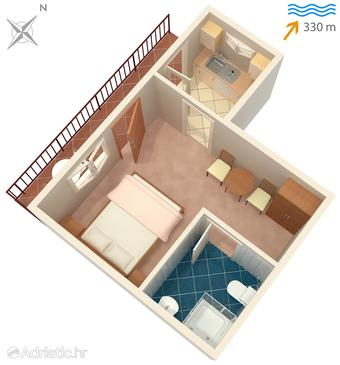 Sutivan, Plan in the studio-apartment, WIFI.