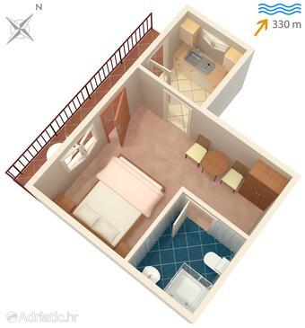 Sutivan, План в размещении типа studio-apartment, WiFi.