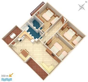 Mali Rat, Plan kwatery w zakwaterowaniu typu apartment, WIFI.