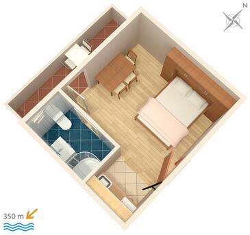 Mali Rat, Půdorys v ubytování typu studio-apartment, WiFi.