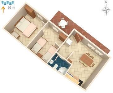Pobij, Plan kwatery w zakwaterowaniu typu apartment, WiFi.