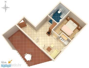 Pisak, Půdorys v ubytování typu apartment, WiFi.