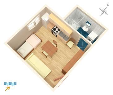 Split, Plan in the studio-apartment, WIFI.