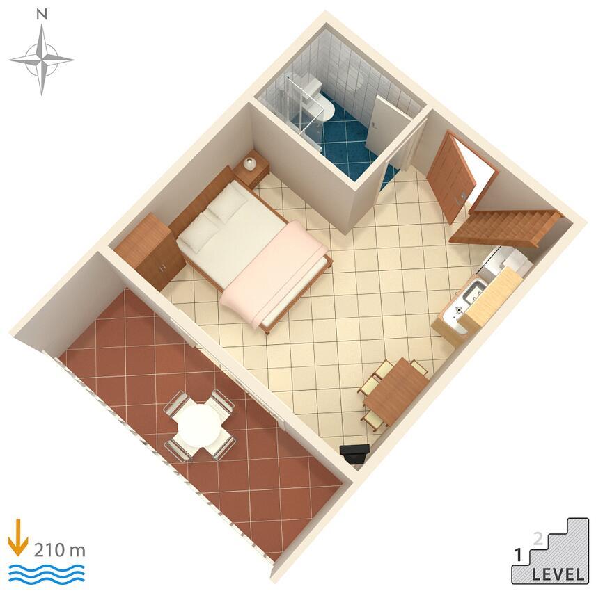 Ferienwohnung Studio Appartment im Ort Due (Omia), Kapazität 2+0 (2077165), Omiš, , Dalmatien, Kroatien, Bild 12