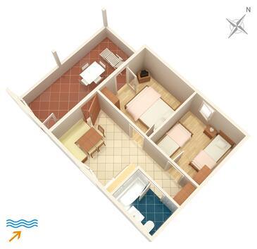 Supetar, Půdorys v ubytování typu apartment, dopusteni kucni ljubimci i WIFI.