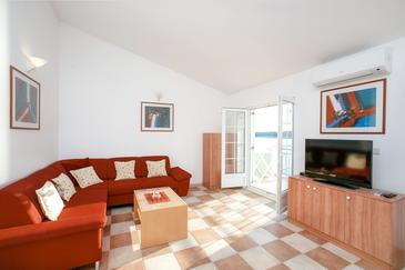 Zatoglav, Obývacia izba v ubytovacej jednotke apartment, dostupna klima i WIFI.