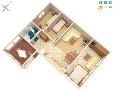 Supetar, Pôdorys v ubytovacej jednotke apartment, domáci miláčikovia povolení a WiFi.