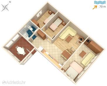 Supetar, Plan kwatery w zakwaterowaniu typu apartment, zwierzęta domowe są dozwolone i WiFi.