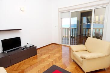 Rogoznica, Obývací pokoj v ubytování typu apartment, klimatizácia k dispozícii a WiFi.