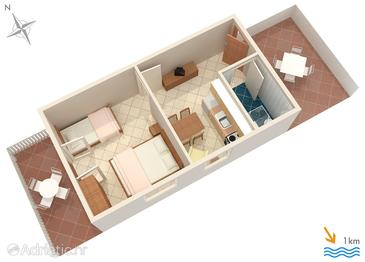 Pučišća, Plan in the apartment, dopusteni kucni ljubimci i WIFI.