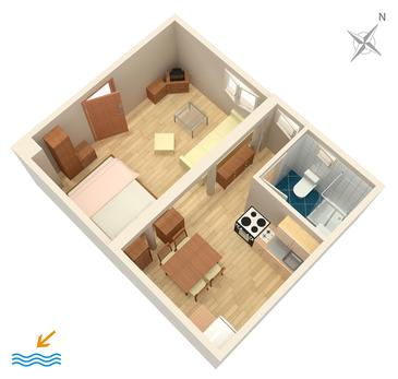 Split, Pôdorys v ubytovacej jednotke studio-apartment, WiFi.