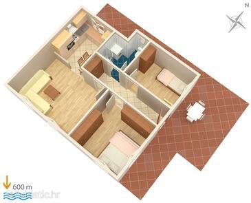 Split, Půdorys v ubytování typu apartment, WiFi.