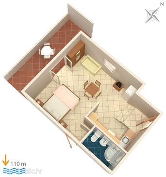 Bušinci, Plan in the studio-apartment.