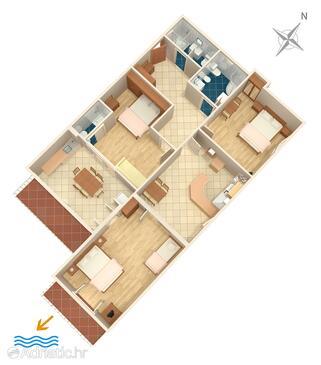Duće, План в размещении типа apartment, Домашние животные допускаются и WiFi.