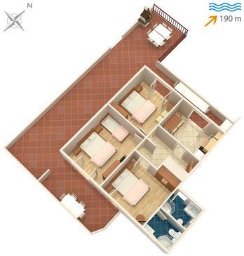 Slatine, Plan kwatery w zakwaterowaniu typu apartment, dopusteni kucni ljubimci i WIFI.