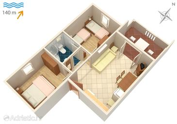 Sutivan, Plan in the apartment, dopusteni kucni ljubimci.